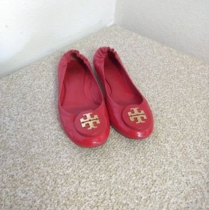 Tory Burch Red Patent Leather Flat Shoes